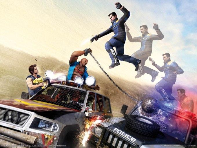 Pursuit Force car jumping