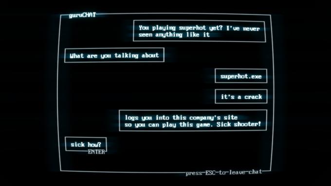 SUPERHOT Chat Screen
